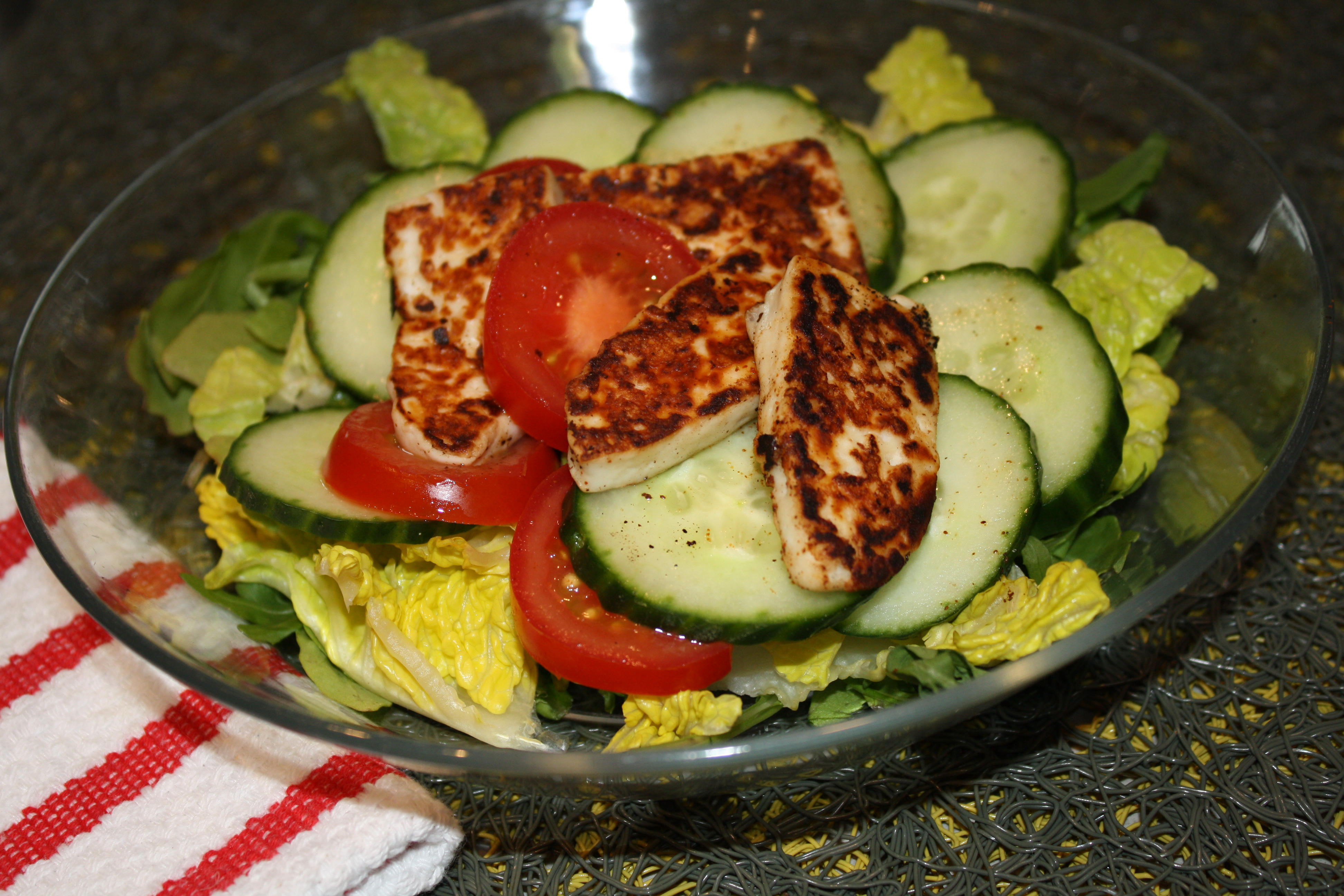 Grilled Halumi Salad - better than grilled cheese