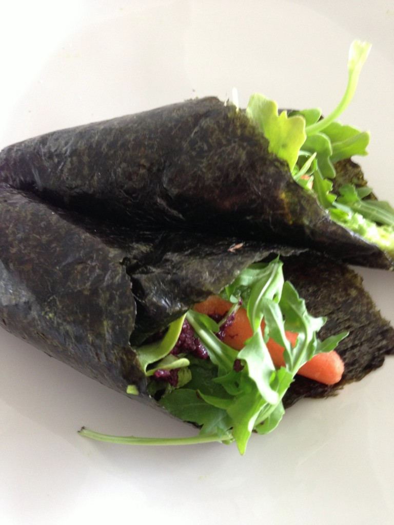 arugula wrapped in a nori sheet with avocado = lunch!